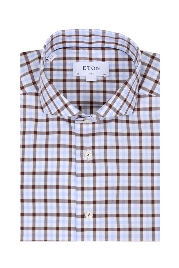 Eton Brown & Light Blue Gingham Slim Fit Sport Shirt