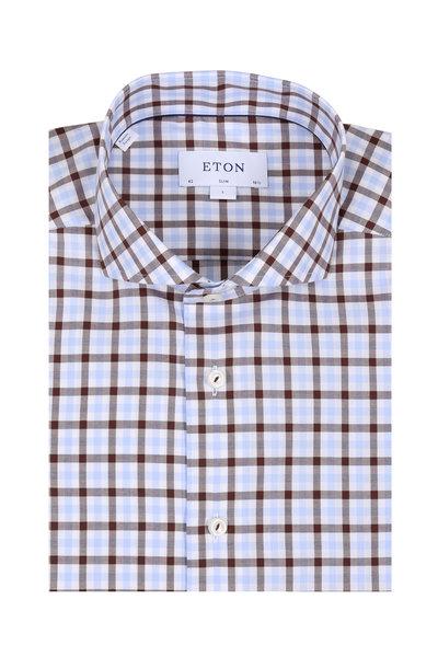 Eton - Brown & Light Blue Gingham Slim Fit Sport Shirt