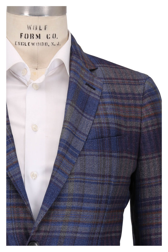 Etro Multicolor Plaid Hemp & Wool Sportcoat