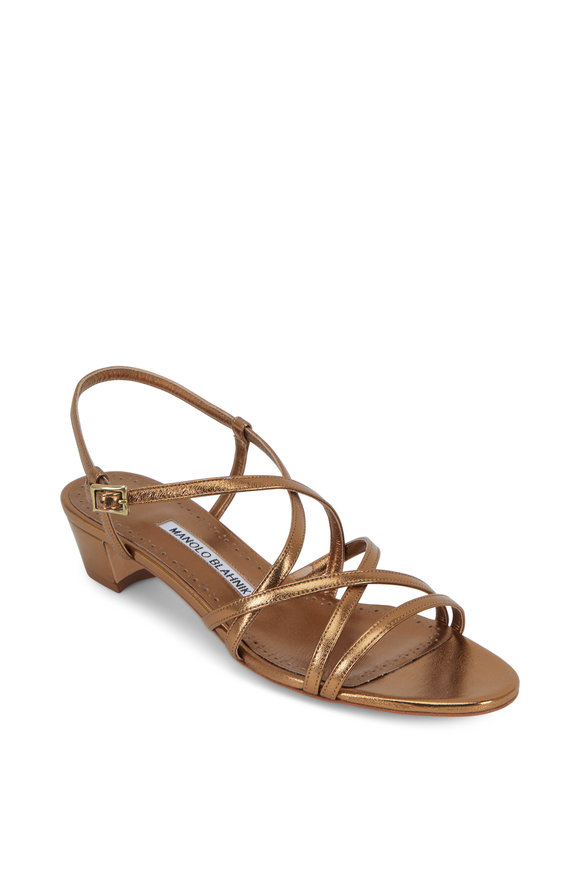 Manolo Blahnik Lupita Bronze Strappy Sandal, 30mm