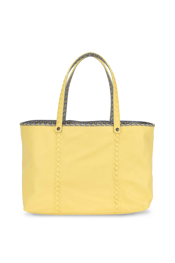 Bottega Veneta Yellow Leather Contrast Printed Lined Large Tote