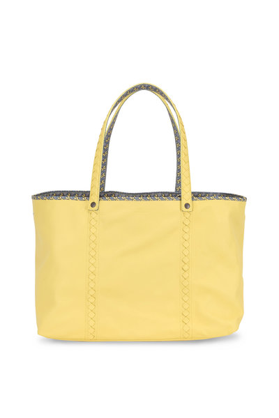 Bottega Veneta - Yellow Leather Contrast Printed Lined Large Tote