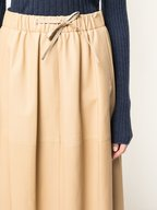 Vince - Sand Ember Leather Skirt