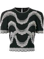 Alexander McQueen - Black & Ivory Jacquard Victorian Bead Top
