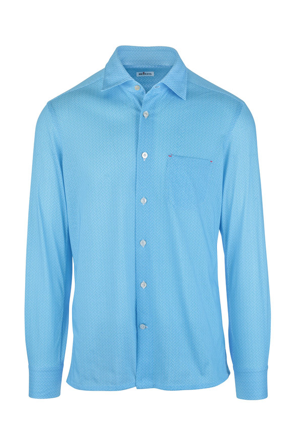 Kiton Light Blue Mini Paisley Jersey Knit Shirt