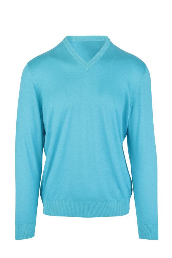 Kiton Aqua Cashmere & Silk V-Neck Sweater