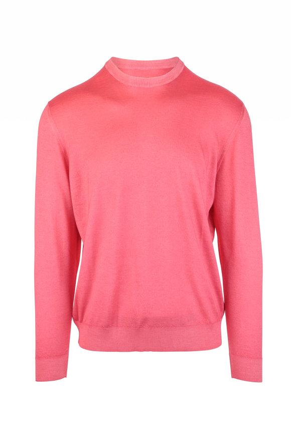 Kiton Pink Cashmere & Silk Crewneck Sweater