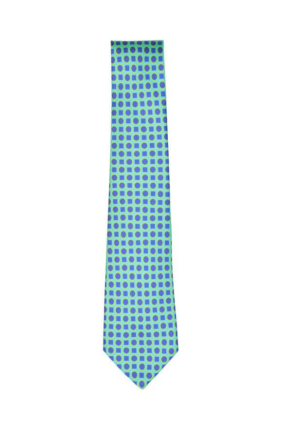 Kiton Green & Purple Geometric Silk Necktie