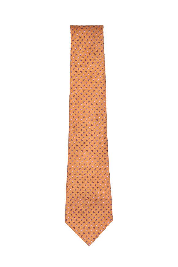 Kiton Orange & Purple Neat Silk Necktie