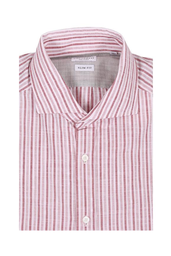 Brunello Cucinelli Red Striped Slim Fit Sport Shirt