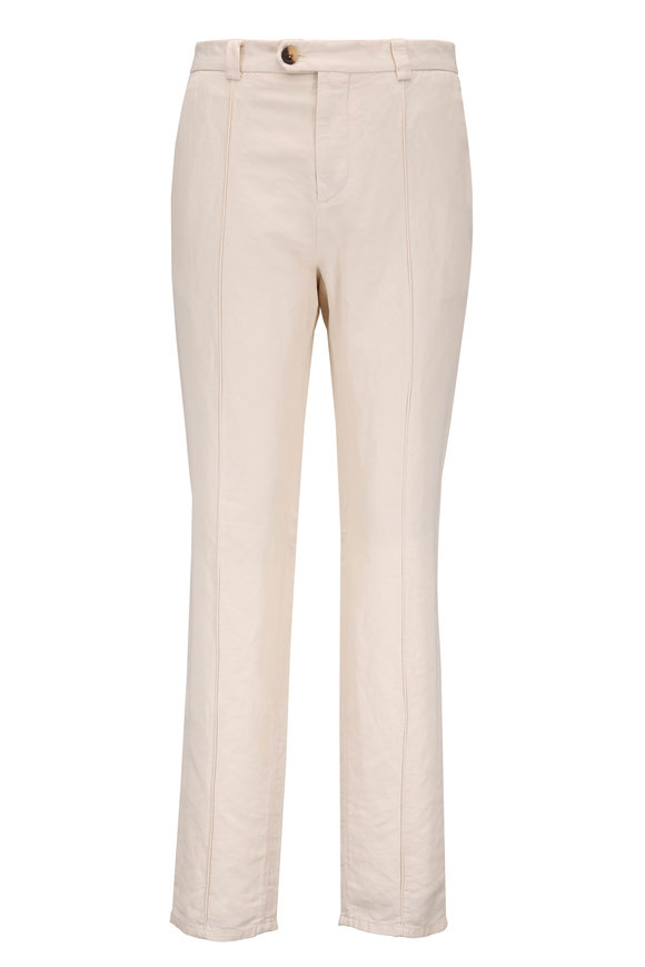 Brunello Cucinelli Off-White Linen & Cotton Crease Pant