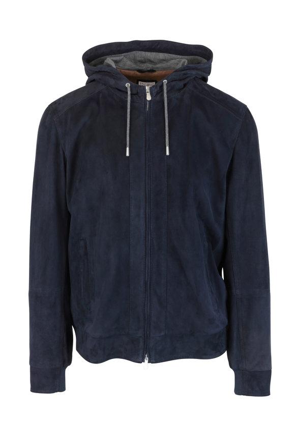Brunello Cucinelli Navy Blue Suede Hooded Bomber Jacket