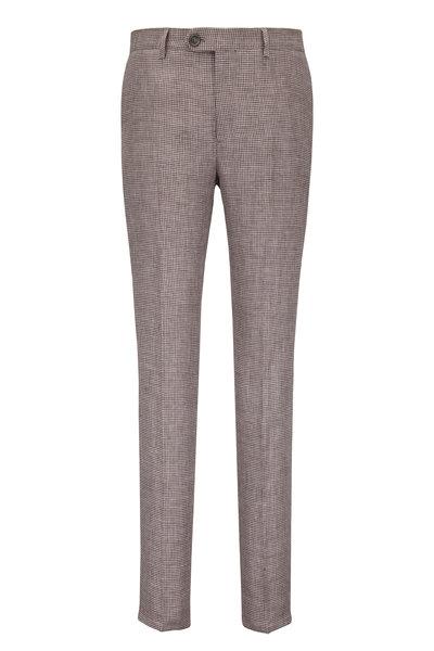 Brunello Cucinelli - Brown Linen Houndstooth Pant