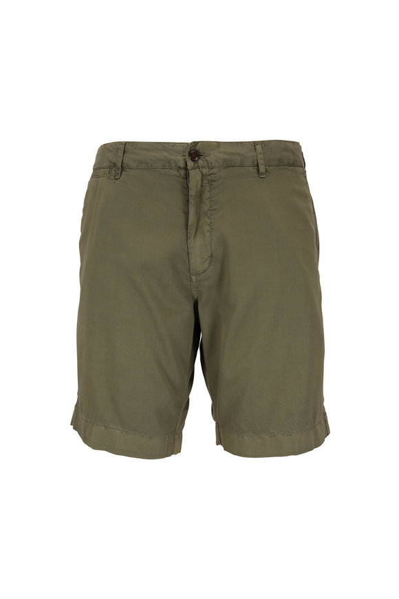 Faherty Brand Harbor Olive Stretch Cotton Shorts