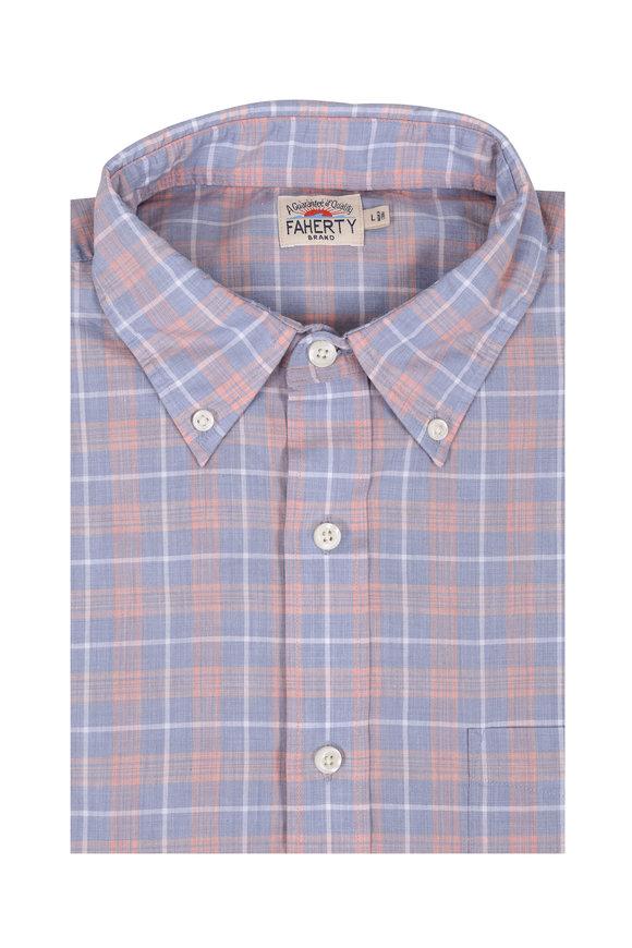 Faherty Brand Coral Plaid Cotton Blend Sport Shirt