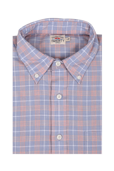 Faherty Brand - Coral Plaid Cotton Blend Sport Shirt
