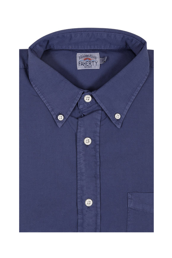 Faherty Brand Solid Navy Blue Sport Shirt