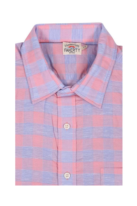 Faherty Brand Light Pink Buffalo Check Sport Shirt
