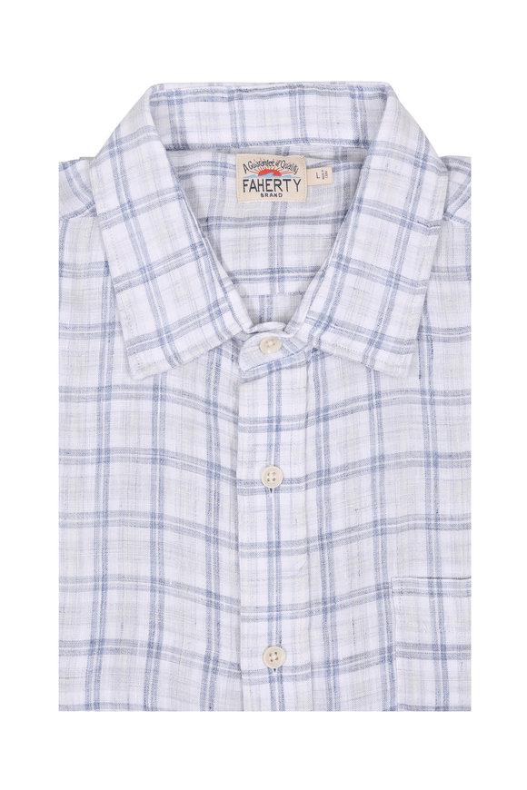 Faherty Brand Ventura Gray Plaid Linen Sport Shirt