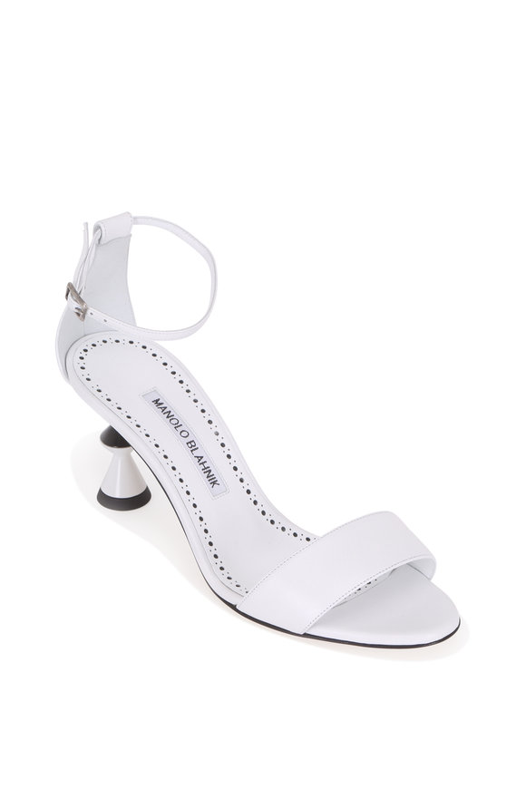 Manolo Blahnik Leda White Leather Sculptural Heel Sandal, 70mm