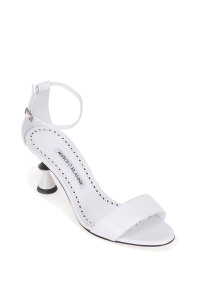 Manolo Blahnik - Leda White Leather Sculptural Heel Sandal, 70mm