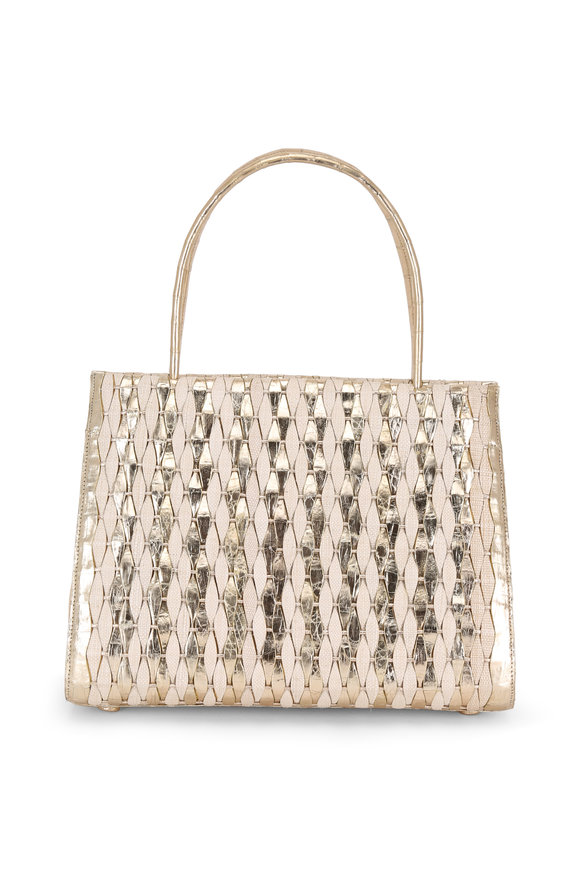 Nancy Gonzalez Champagne Crocodile & Natural Straw Woven Tote