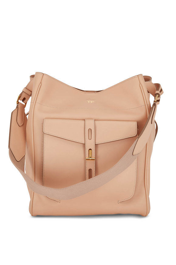 Tom Ford Oat Leather Medium Hobo Bag