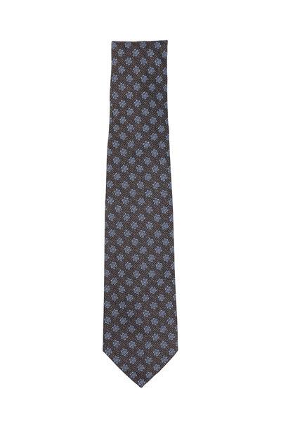 Isaia - Brown & Blue Floral Silk Necktie