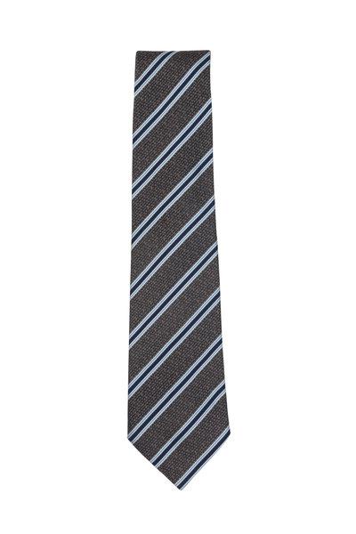 Isaia - Brown & Blue Striped Silk Necktie