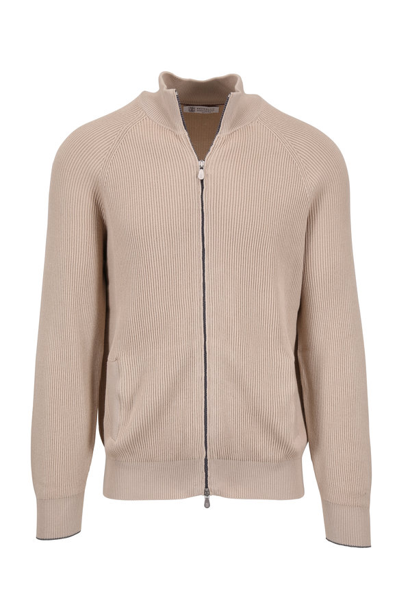 Brunello Cucinelli Oat Cotton Ribbed Full Zip Cardigan