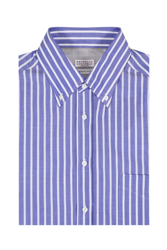 Brunello Cucinelli Blue & White Wide Striped Sport Shirt