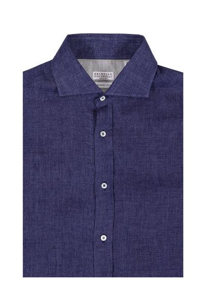 Brunello Cucinelli - Solid Navy Blue Line Sport Shirt