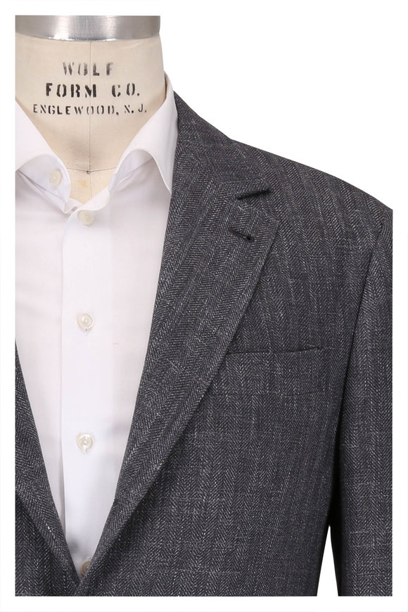Brunello Cucinelli Charcoal Gray Wool, Linen & Silk Sportcoat