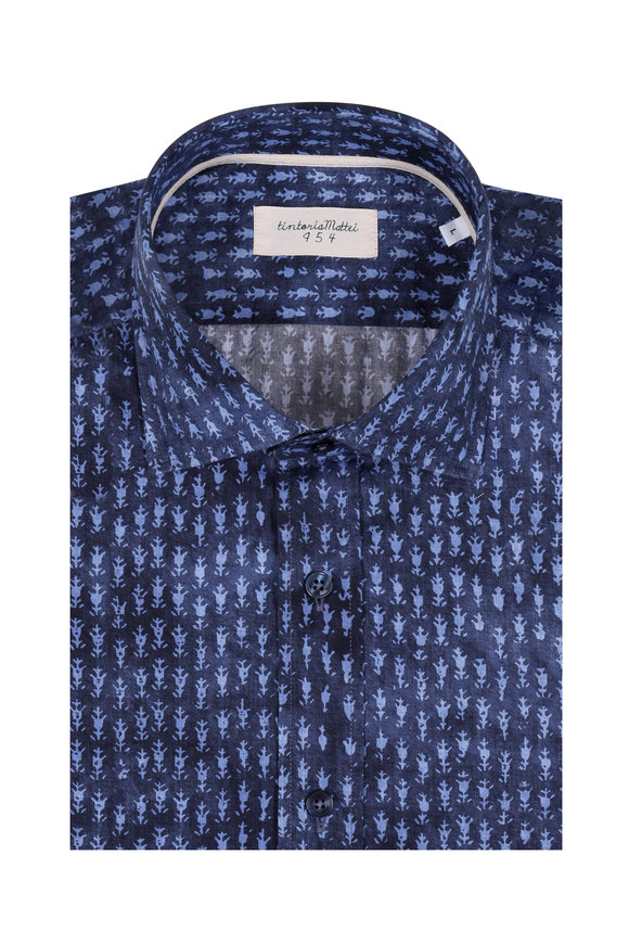 Tintoria Navy Blue Abstract Print Sport Shirt