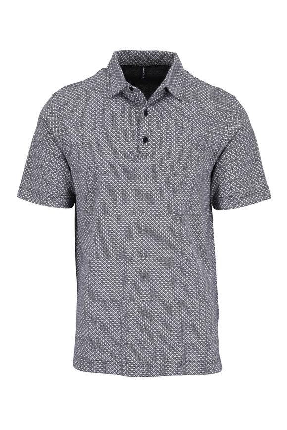 04651/ White & Black Printed Cotton Polo