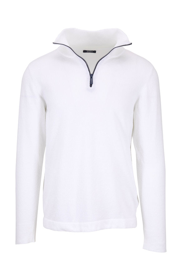 04651/ Troyer White Boucle Quarter-Zip Pullover