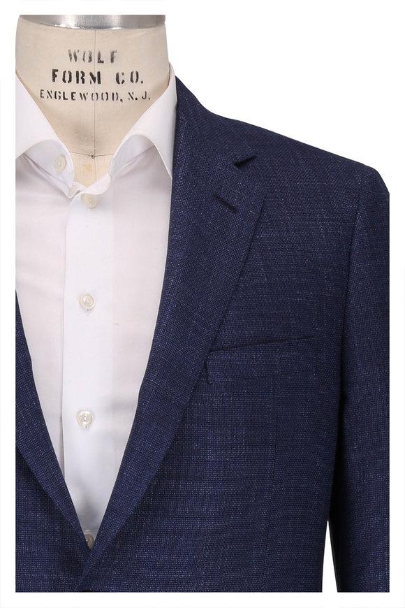 Samuelsohn Blue Wool, Silk & Linen Sportcoat