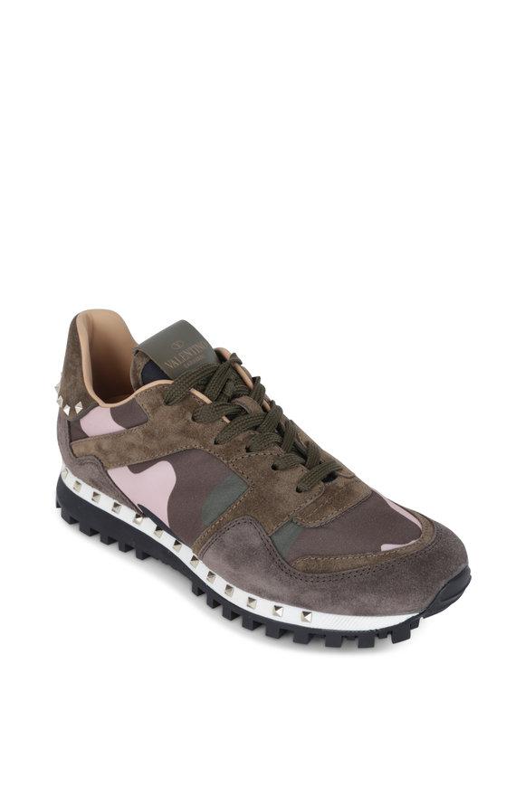 Valentino Garavani Rockrunner Green Camouflage Studded Sneaker