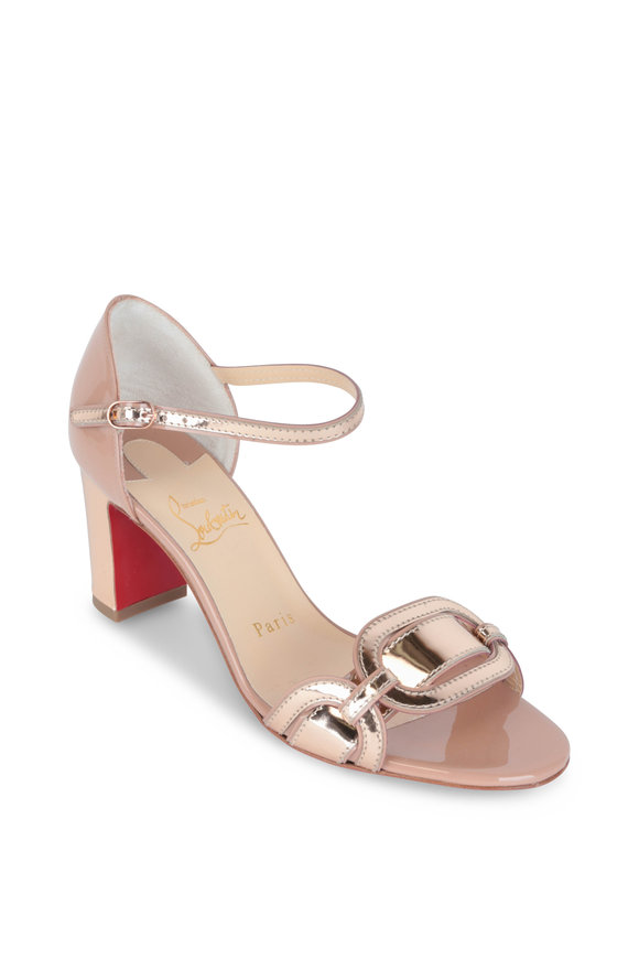 Christian Louboutin Valparaiso Nude Patent Leather Sandal, 70mm