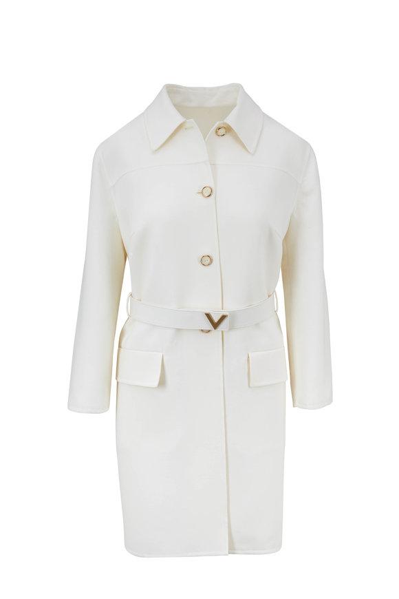 Valentino Cream Wool Logo Belted Topper