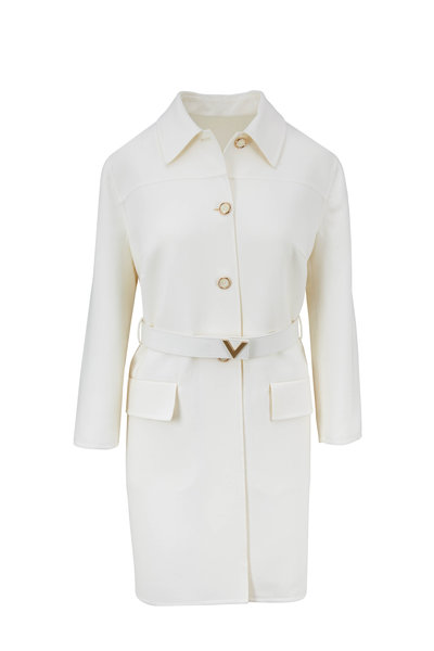Valentino - Cream Wool Logo Belted Topper