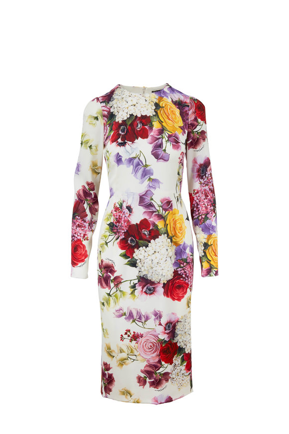 Dolce & Gabbana Natural Floral Print Charmeuse Midi Dress