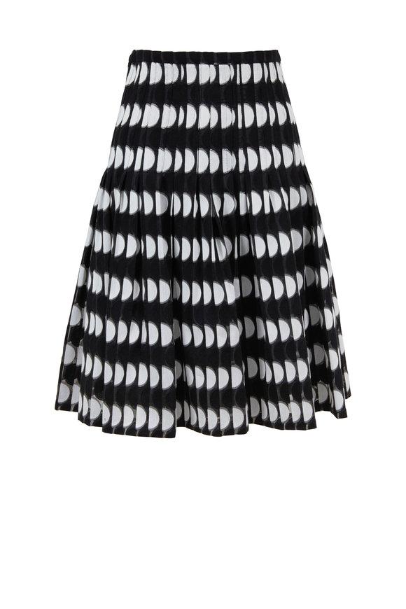Akris Punto Black & Cream Scallop Print Knee Skirt