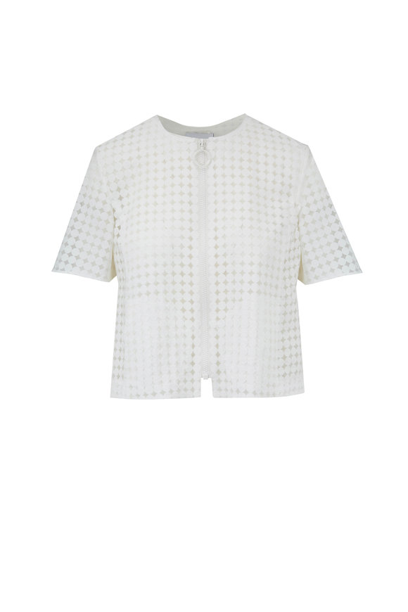 Akris Punto Cream Shadow Dot Crop Jacket