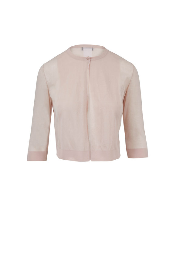 Akris Blush Sheer Three-Quarter Sleeve Cardigan