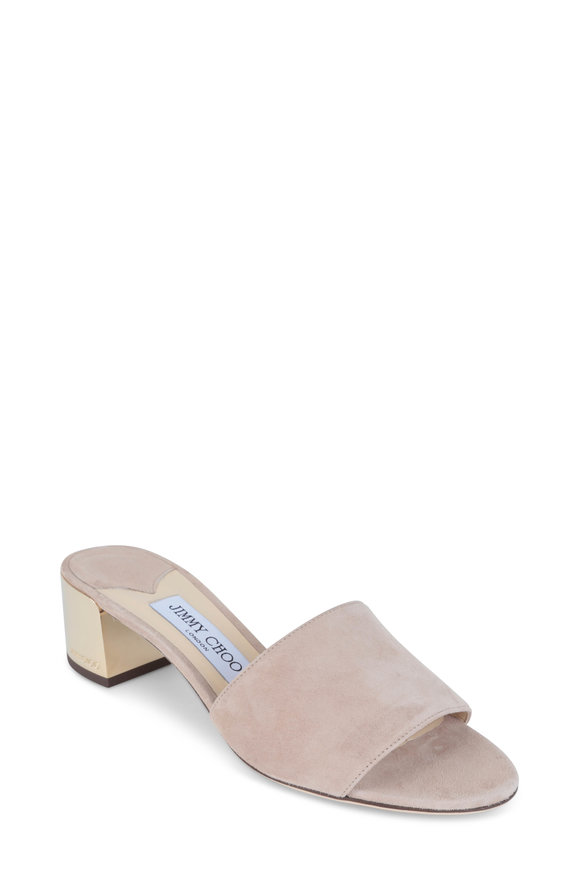 Jimmy Choo Joni Blush Suede Metallic Heel Slide, 40mm
