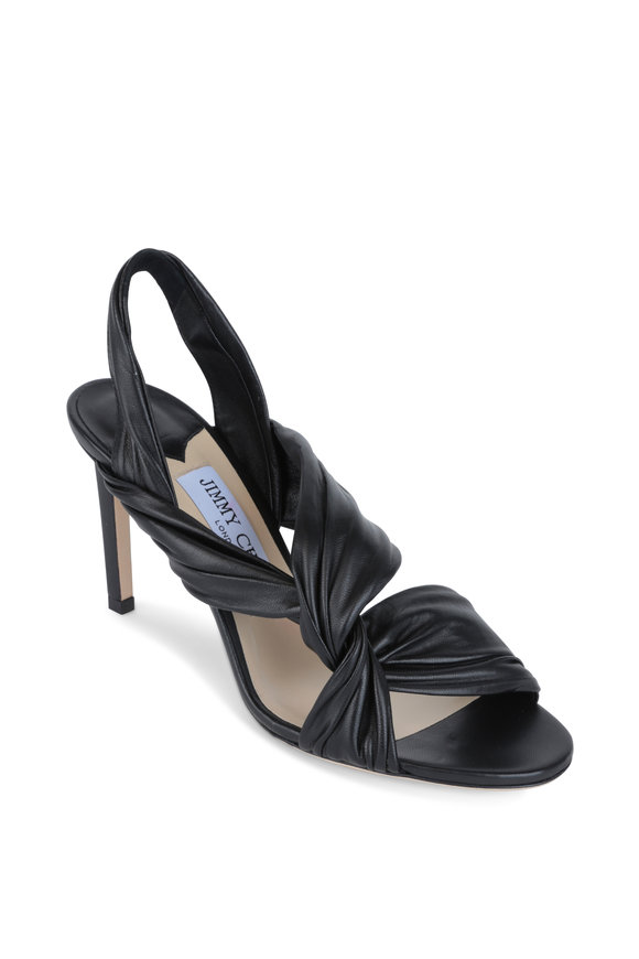 Jimmy Choo Laila Black Leather Twist Slingback, 85mm