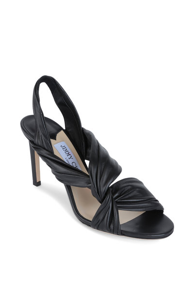 Jimmy Choo - Laila Black Leather Twist Slingback, 85mm