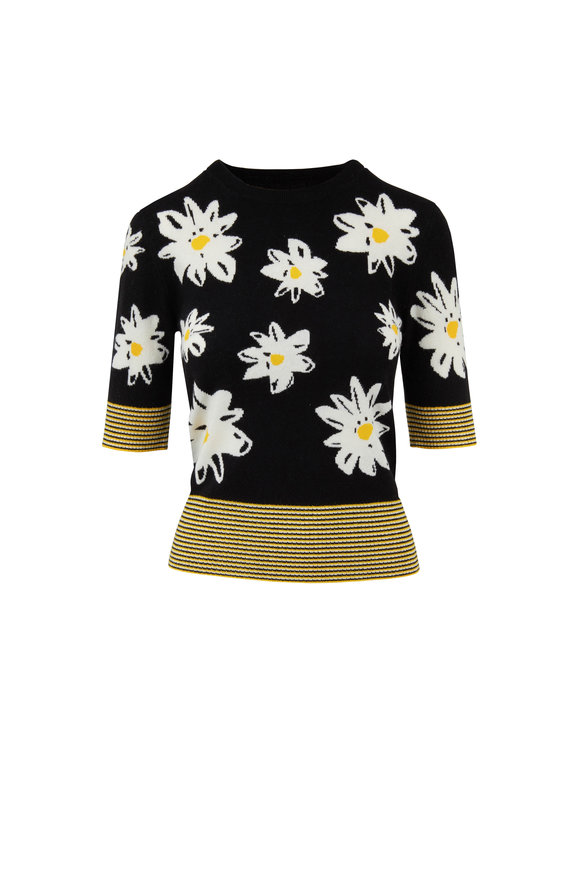 Chinti & Parker Black & Yellow Daisy Print Sweater