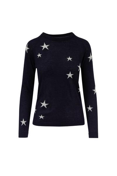 Chinti & Parker - Navy & Cream Stars Cashmere Sweater